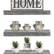 Sorbus Floating Shelf Set - Rustic Wood Hanging Rectangle Wall Shelves