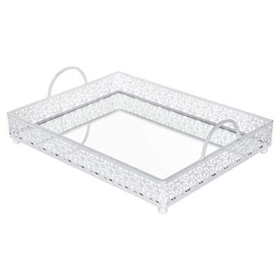 Giovanni White Mirror Top Serving Tray, Rectangular Metal Ornate