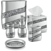 DWELLZA Silver Mosaic Bathroom Accessories Set