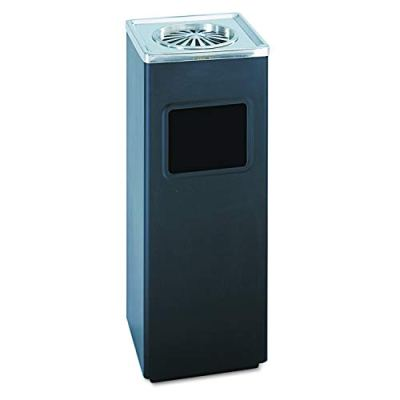 Safco Products Square Ash And Trash Trash Can, Black