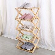 MaidMAX 5 Tier Shoe Rack, Wood Shelving Unit, Standing Tower Shelf