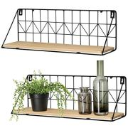 Mkono Wall Mounted Floating Shelves Set of 2 Rustic Metal Wire Storage