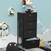 SONGMICS 4-Tier Dresser Drawer Unit, Cabinet with 4 Easy Pull Fabric Drawers