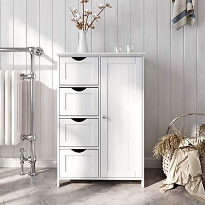 VASAGLE Bathroom Storage Cabinet, Floor with Adjustable Shelf and Drawers