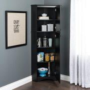Prepac Corner Storage Cabinet Elite Tall 2-Door, Black