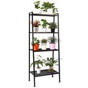 HOMFA Metal 4 Shelf Bookcase, Multifunctional Ladder-Shaped Plant Flower