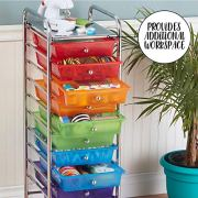 ECR4Kids 10-Drawer Mobile Organizer, Assorted Colors
