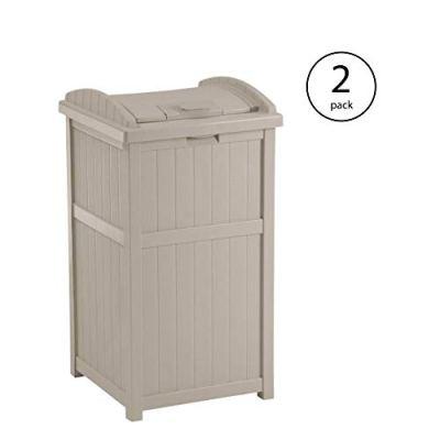 Suncast 30-33 Gallon Deck Patio Resin Garbage Trash Can Hideaway