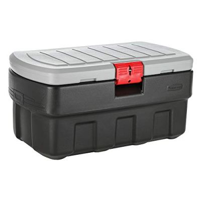 Rubbermaid ActionPacker Lockable Storage Box, 35 Gal, Grey and Black