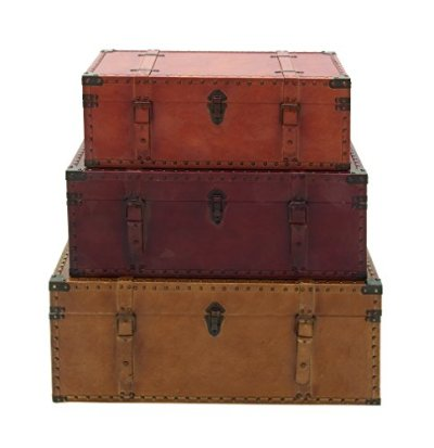Deco 79 56670 Large Brown, Burgundy, Tan Leather & Wood Storage Trunks