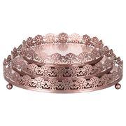 Sophia 3-Piece Rose Gold Decorative Tray Set, Round Metal Ornate