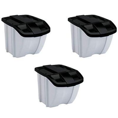 Suncast 18 Gallon Indoor or Outdoor Stacking Recycle Storage Bin