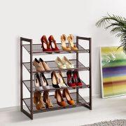LANGRIA 4-Tier Metal Shoe Rack Utility Shoe Tower Shoe Organizer Shelf
