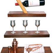 Modern Cottage Floating Shelves Wood with Rustic Walnut Varnish
