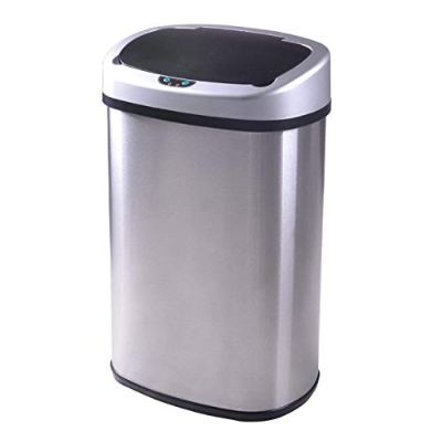 Trash Can, 13-Gallon Touch-Free Automatic Stainless-Steel Kitchen Trash