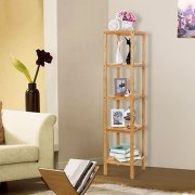 SONGMICS 100% 5-Tier Bamboo Bathroom Shelf, Narrow Shelving Unit