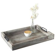 Distressed Torched Wood 20-Inch Serving Tray