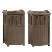 Suncast Home Outdoor Patio Resin Wicker Trash