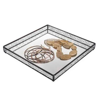 Glass Tray Mirrored Bottom Decorative Bathroom Vanity Makeup Organizer