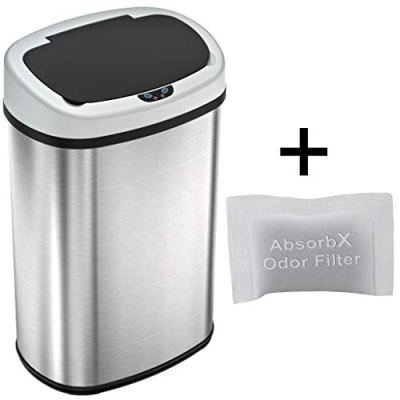 iTouchless 13 Gallon SensorCan Touchless Trash Can with Odor Control System
