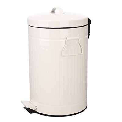 Bathroom Trash Can with Lid, White Bathroom Bedroom Wastebasket Soft Close