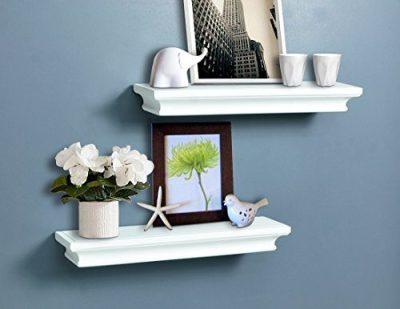 AHDECOR White Floating Shelves, Ledge Wall Shelf for Small Display Items