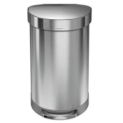 simplehuman 45 Liter / 12 Gallon Stainless Steel Semi-Round Kitchen Step Trash