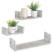 MyGift Wall Mounted Wood U-Shaped Floating Shelves