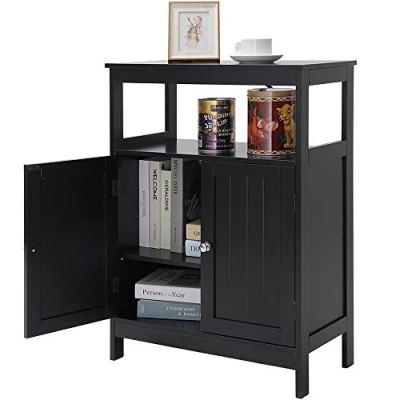 Iwell Bathroom Floor Storage Cabinet with 1 Adjustable Shelf