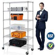 6-Tier Shelf Wire Shelving Units, Height Adjustable Organizer Garage Storage