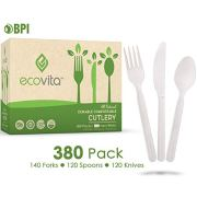 100% Compostable Forks Spoons Knives Cutlery Combo Set