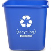 Pack of 6 - Deskside Recycling Bin Container in Blue Plastic