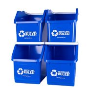 4 Pack of Bins - Blue Stackable Recycling Bin Container