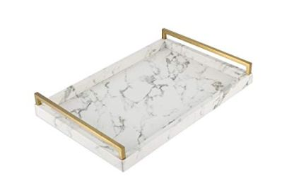 WV Decorative Tray Faux Leather PU Marble Finish