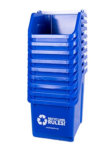 10 Pack of Bins - Blue Stackable Recycling Bin Container