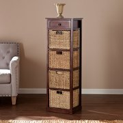 Southern Enterprises Kenton 4-Basket Storage Tower, Brown