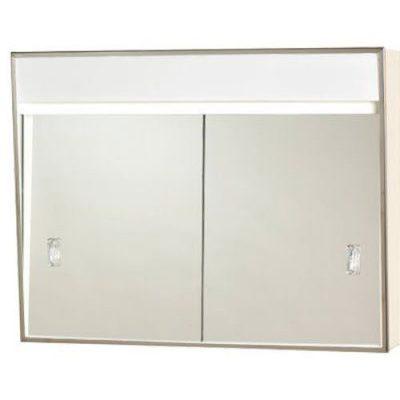 Series Sliding Medicine Cabinet, 2 Light With Courtesy Outlet