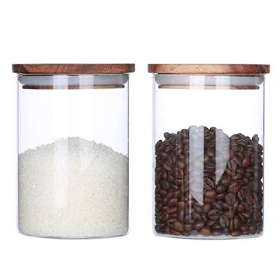 Clear Glass Canister With Airtight Wood Lids Glass Airtight Food Storage Jars