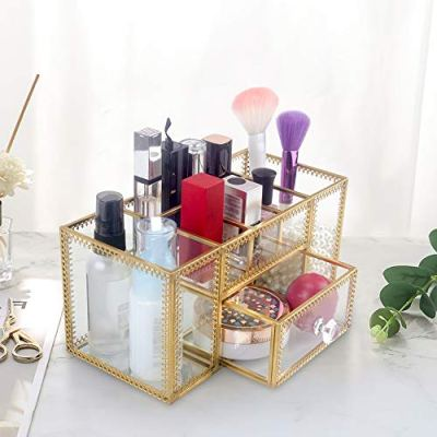 DesignSter Antique Glass Makeup Organizer - Gold Lace Perfume Cosmetic Holder