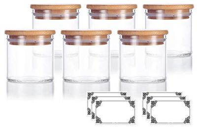 4 oz Premium Borosilicate Clear Glass Jars with Bamboo Silicone Sealed Lid