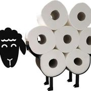Cute Black Sheep Toilet Paper Roll Holder - Cool Novelty Free Standing