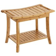 SONGMICS Bamboo Shower Bench Seat, Portable Spa Bathing Stool