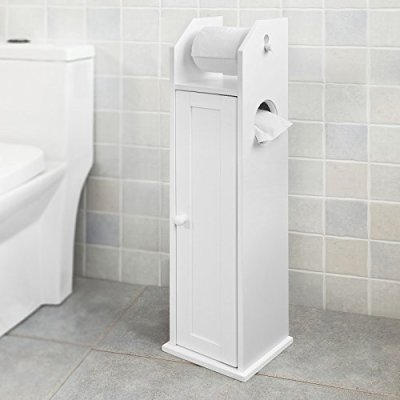 Haotian, White Free Standing Wooden Bathroom Toilet Paper Roll Holder Storage