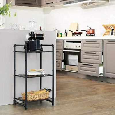 SONGMICS Bathroom Shelf, 3-Tier DIY Storage Rack, Industrial Style Extendable