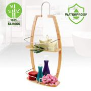 Rustproof Hanging Wood Shower Caddy - 2 Tier Waterproof and Natural Bamboo