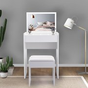 JAXPETY Vanity Makeup Table Set with Flip Top Mirror Cushioned Stool Makeup