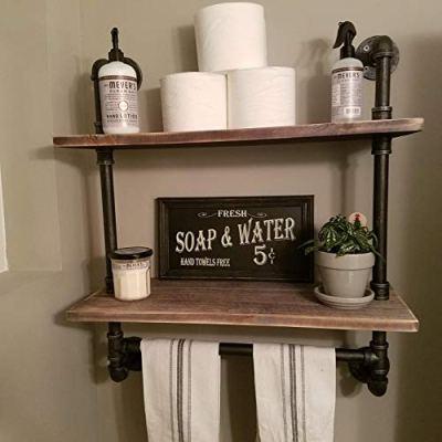 FODUE Industrial Pipe Shelf,Rustic Wall Shelf with Towel Bar
