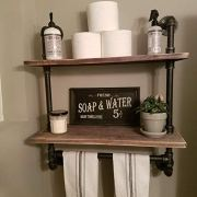 FODUE Industrial Pipe Shelf,Rustic Wall Shelf with Towel Bar