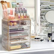 Sorbus Glitter Cosmetic Makeup and Jewelry Storage Case Rose Gold Display