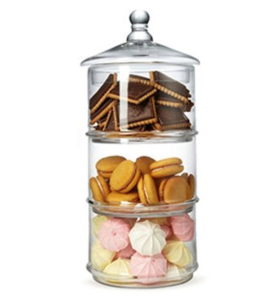 MyGift 16 inch 3 Tier Stacking Apothecary Jars, Round Glass Candy